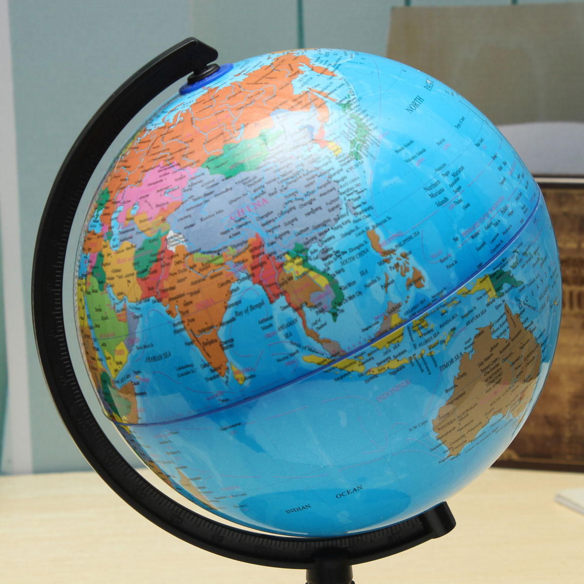 20cm blue ocean world globe map with swivel stand geography 1 x world globe map with swivel stand image image gumiabroncs Images