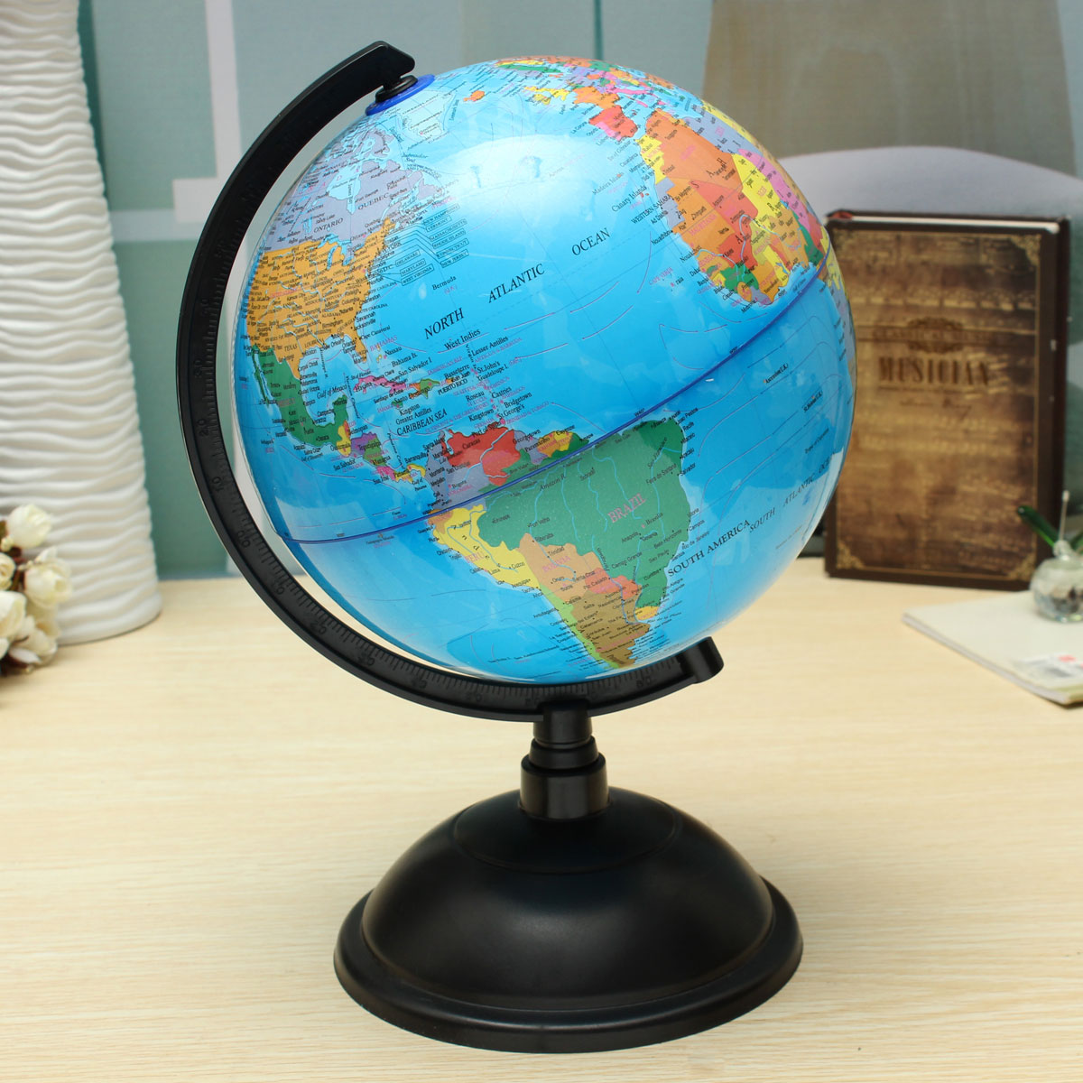 20cm blue ocean world globe map with swivel stand geography 1 x world globe map with swivel stand image gumiabroncs Image collections