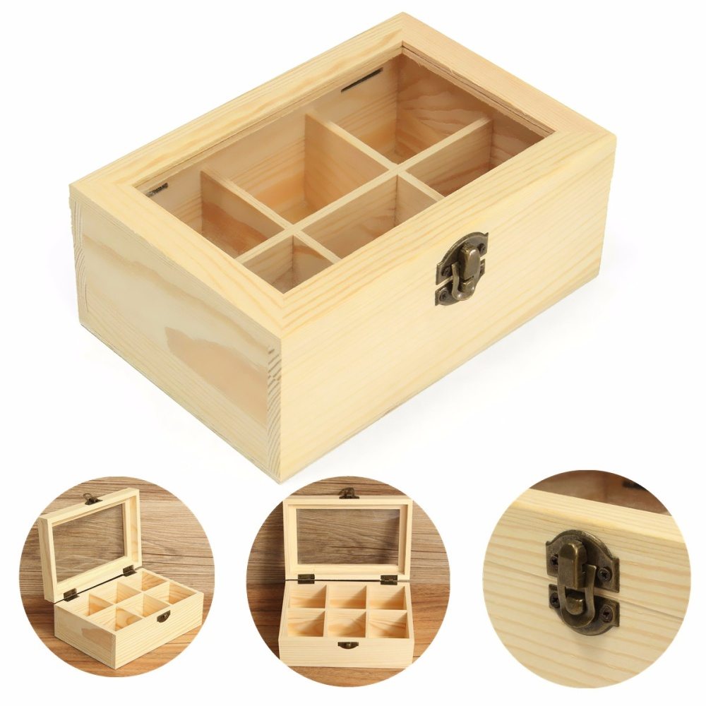 6 Compartments Wooden Tea Bag Jewelry Organizer Chest Storage Box