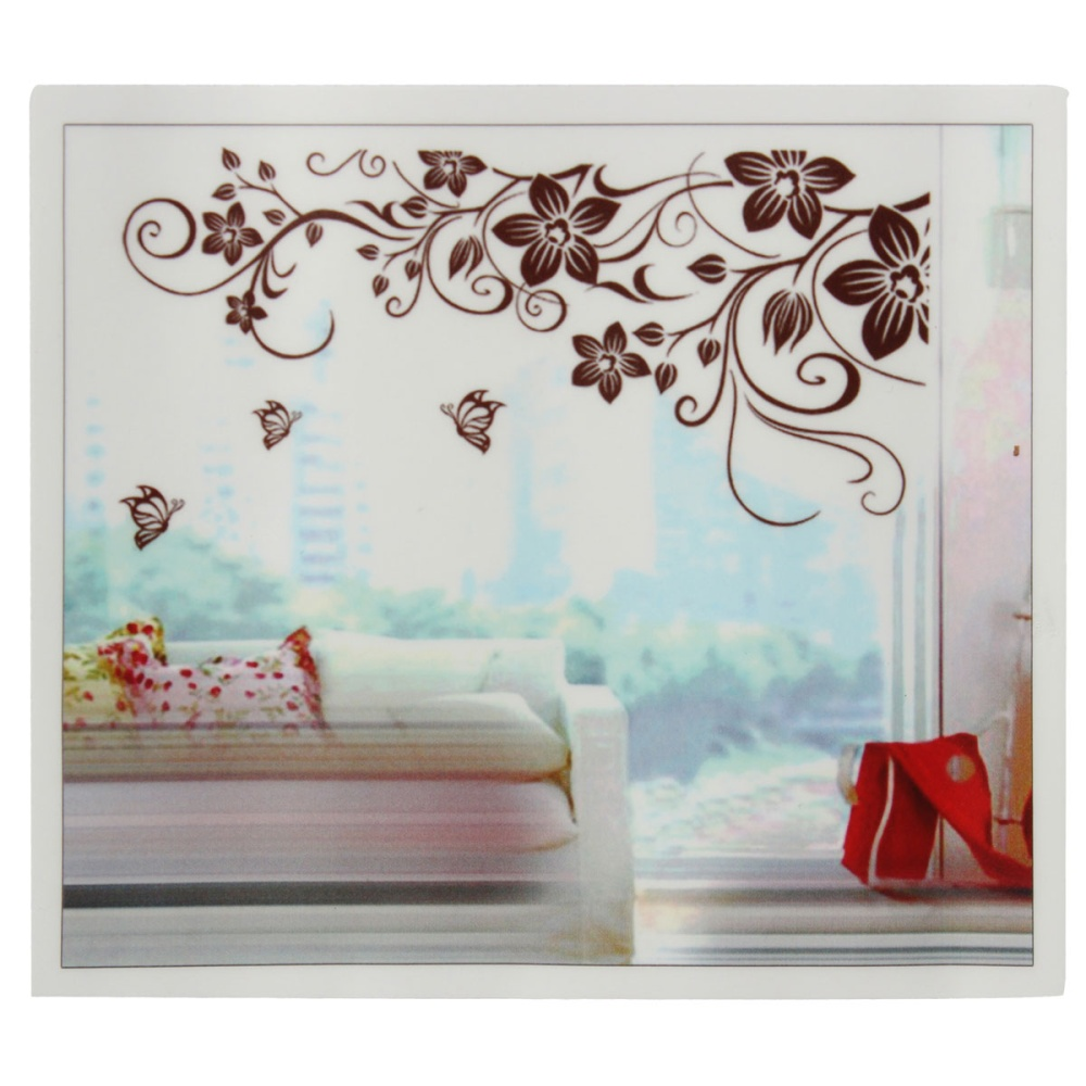 butterfly flower removable vine vinyl wall sticker decal home room image