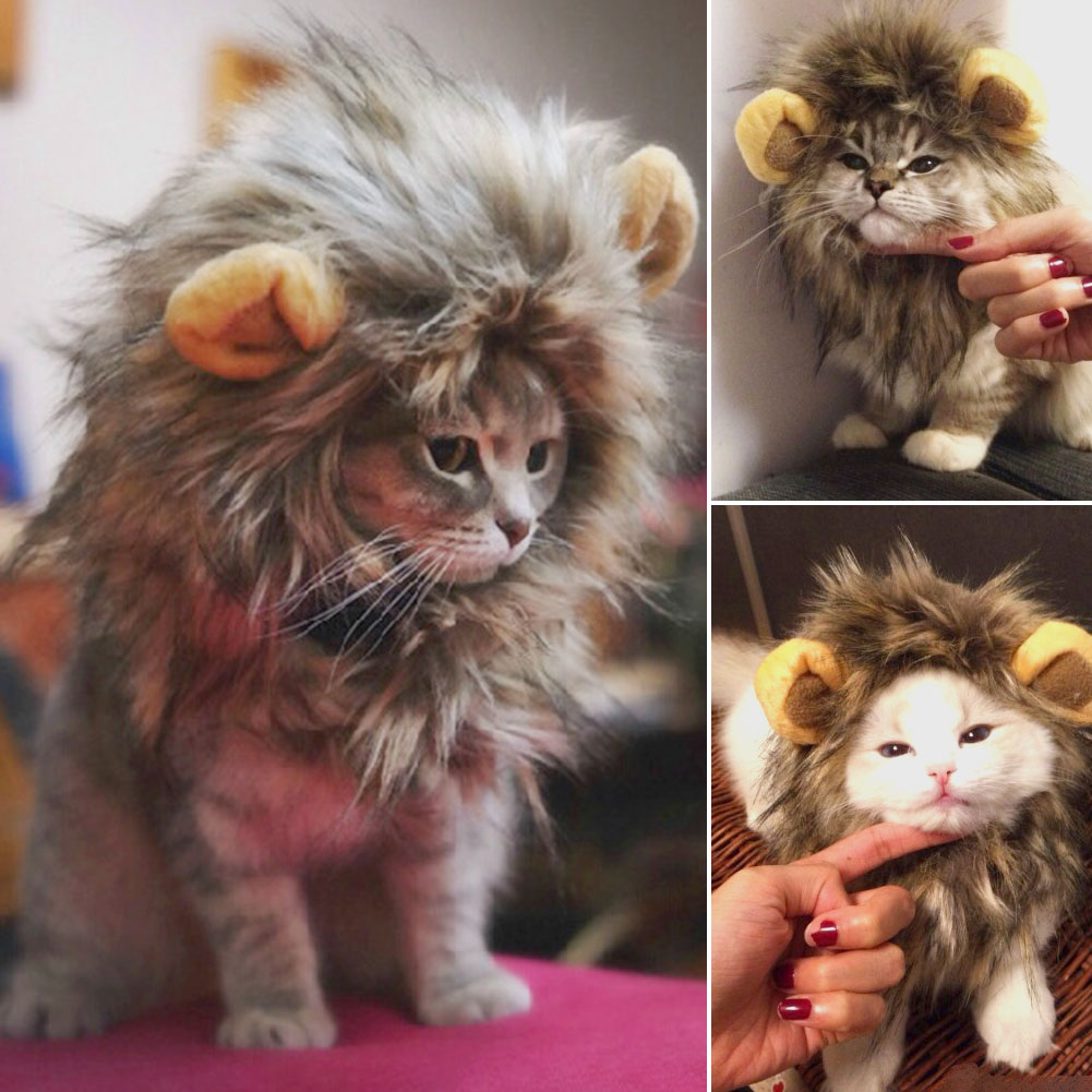 ad254cb48 Furry Pet Costume Lion Mane Wig For Cat Halloween Dress Up With Ears ...
