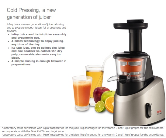 Tefal Infiny Juice Cold Press Juicer ZC255B Lazada Singapore