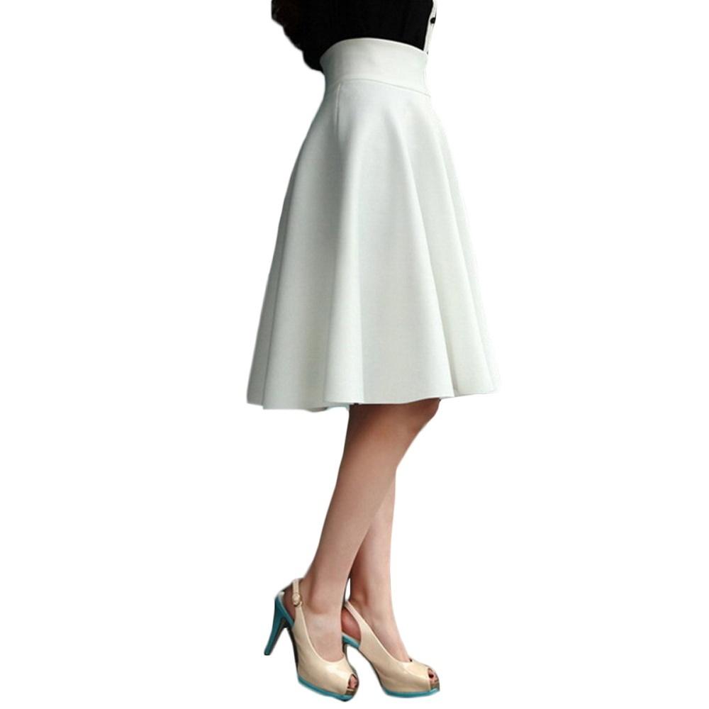 a2d1c3dc729 Specifications of High Waist Pleat Elegant Skirt White Blue Black Knee- Length Flared Skirts Fashion Women Faldas Saia 5XL Plus Size Ladies Jupe -  intl