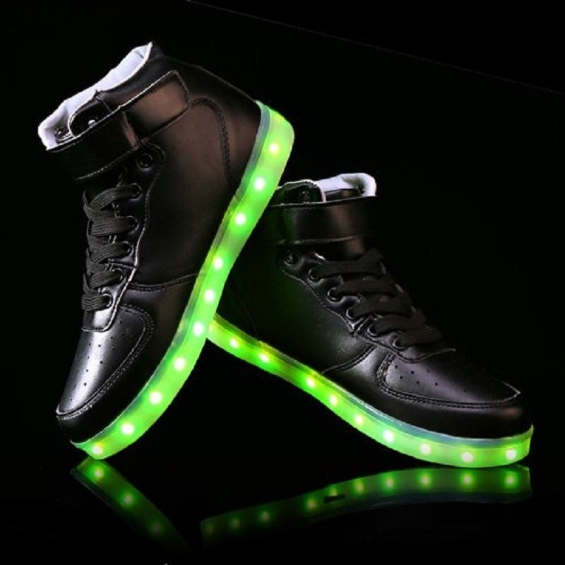 High Top USB Charging LED Shoes Flashing Fashion Sneakers For Women ... 856c9114c2