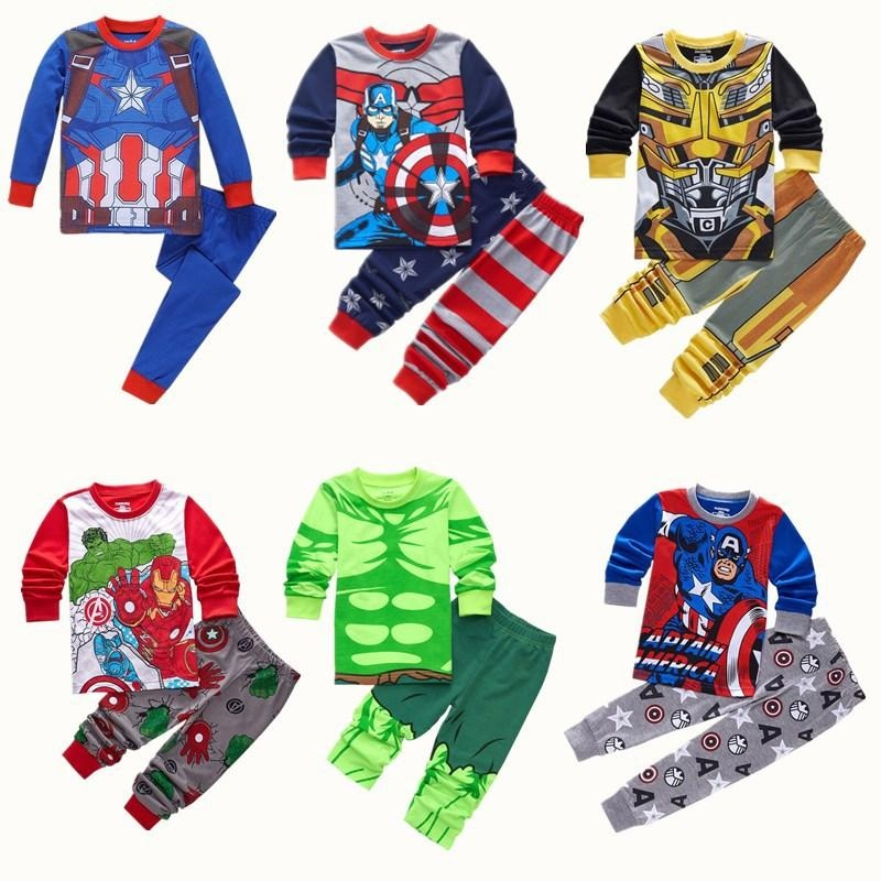 3312f6bb49768 2-7Y Kids Boy Superhero Hulk Iron Man Pajamas Sleepwear Clothes Set Child  Cartoon Pijamas Children Cosplay Costumes - intl