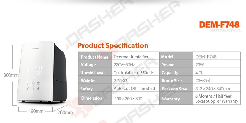 Deerma, Air, Humidifier, Purifier, High End, F748, Smart, 4.9L