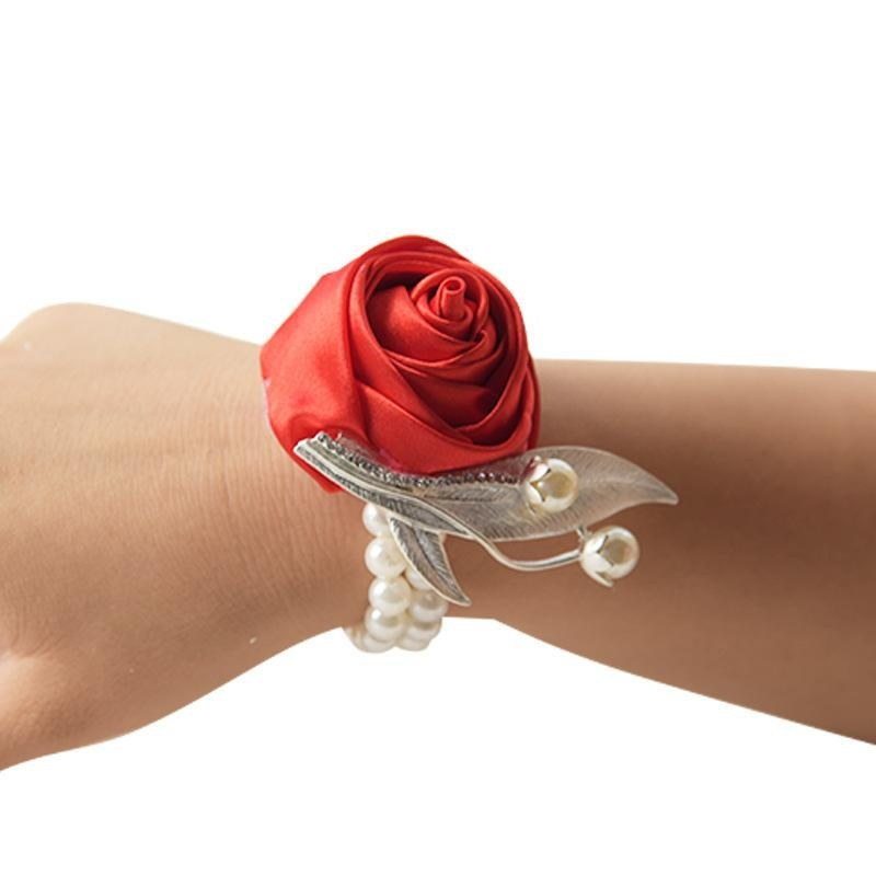 b5a0423702 Rose Wrist Corsage Bridesmaid Sisters hand flowers Artificial Bride Flowers  For Wedding Party Decoration Bridal Prom - intl