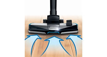 New 3-in-1 TriActive+ nozzle picks up coarse and fine dust