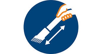 Soft brush integrated into handle, always ready to use