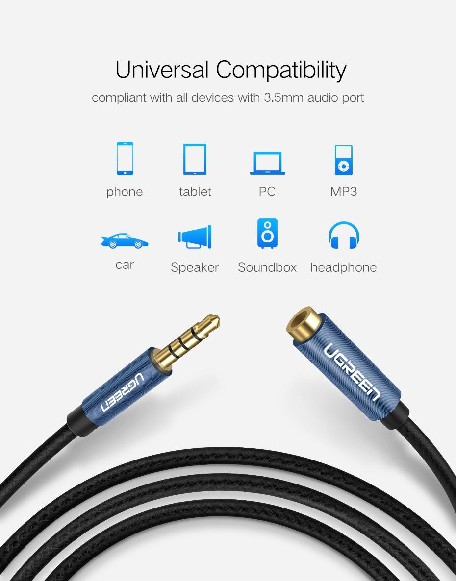 Ugreen 05meter 35mm Extension Audio Cable 4 Poles Male To Female Kabel Digital Optic Toslink Panjang 1m Specifications Of Aux Support Mic Headphone 35 Mm For Iphone
