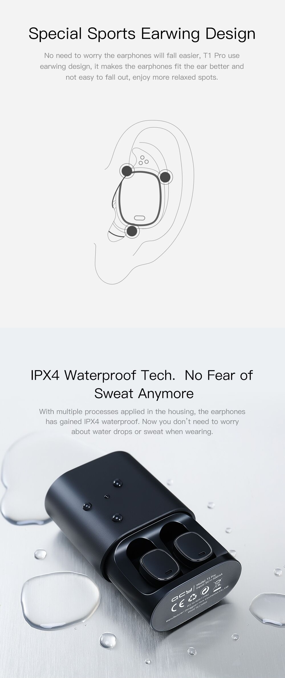 [True Wireless] QCY T1 PRO TWS Dual Bluetooth Earphones IPX4 Waterproof Headphones with Charging Box