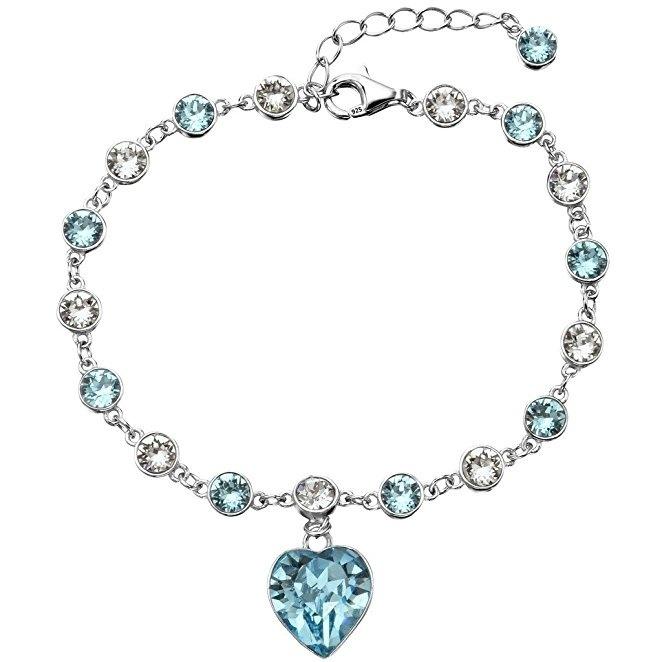 EleQueen 925 Sterling Silver Love Heart Tennis Bracelet Aquamarine Color Adorned with Swarovski Crystals