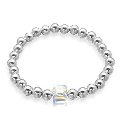 Angelady Health Copper Round Beads Stretch Bracelet with Swarovski Crystal for Men Women Unisex