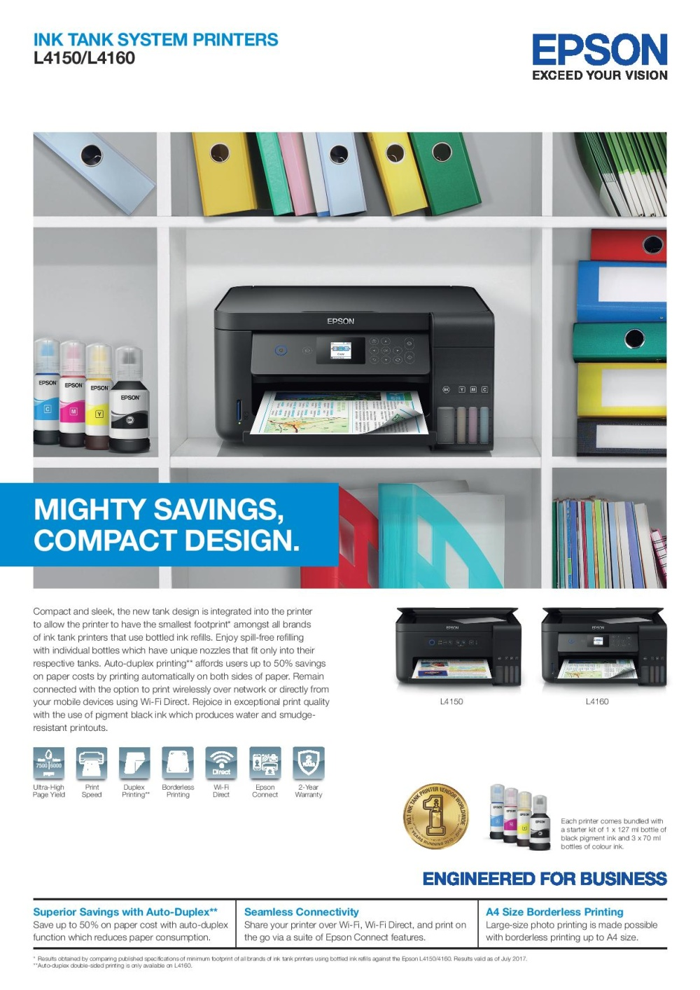 Epson L4150 Wi-Fi All-in-One Ink Tank Printer Mighty savings / Compact  design Singapore
