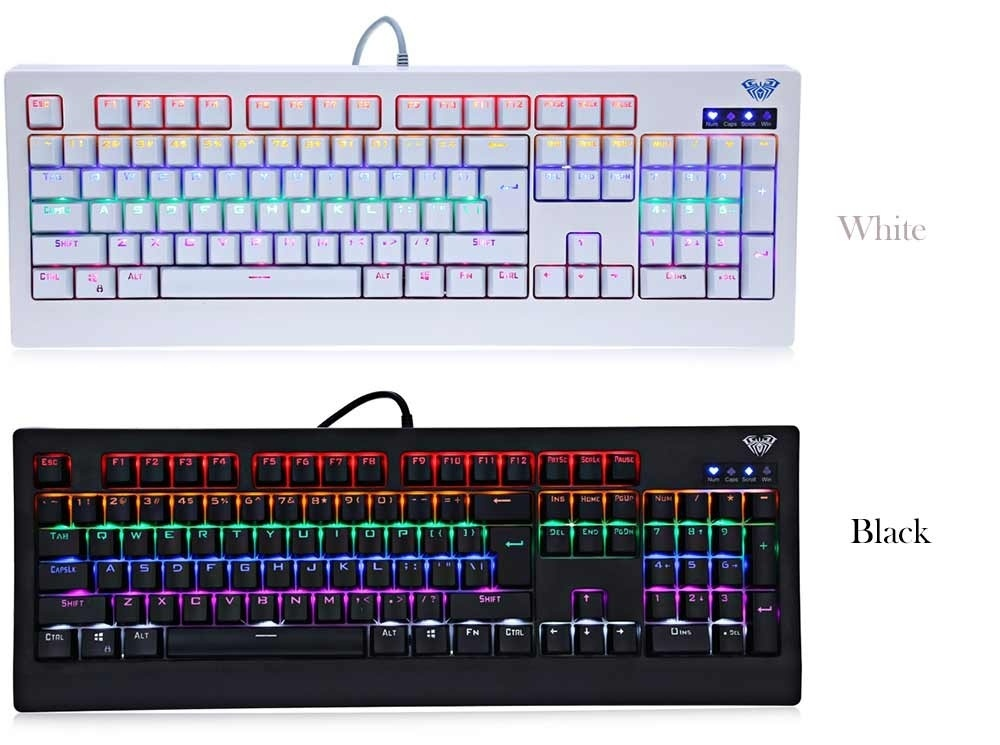 AULA 104-key Professional USB Wired Gaming Mechanical Keyboard with Colorful Backlight