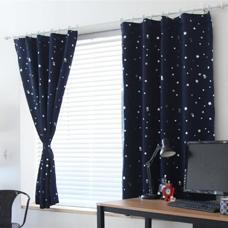 Blackout Thermal Solid Window Curtains Dark Blue