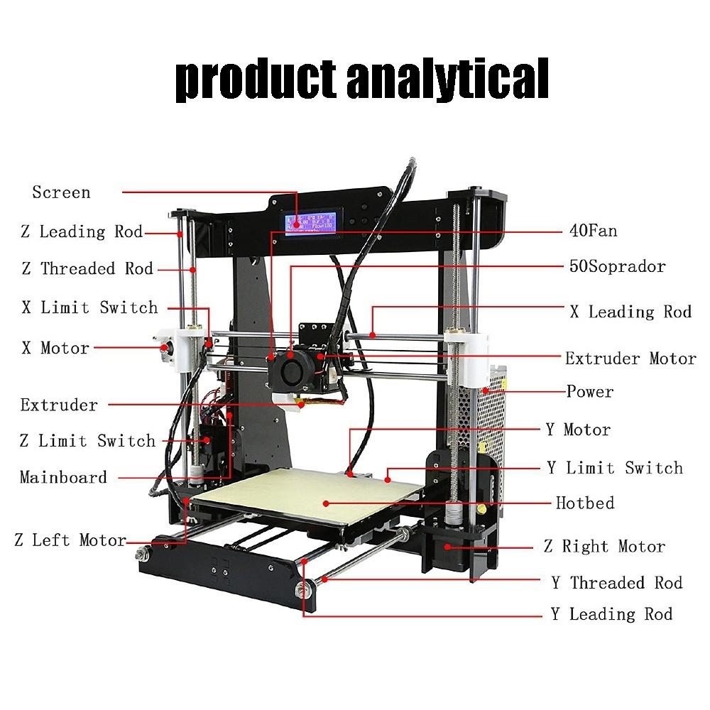 Anet A6 High Precision 3D Printer Kits Reprap i3 DIY 16GB SD Card LCD Screen HE