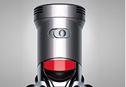 The Dyson V8 Absolute cordless vacuum cleaner. Slide switch to select power. Provides up to 7 minutes of higher suction for more difficult tasks.